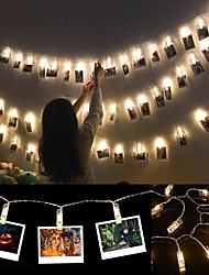 cheap -6M  Photo Clip Holder LED String lights Battery Powered Christmas New Year Party Wedding Ramadan Decoration Fairy lights