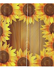 Недорогие -узор подсолнечника домашнего декора водонепроницаемый литой полиэстер занавеска для ванной тепло / звукоизоляция плотные шторы для гостиной / гостиной