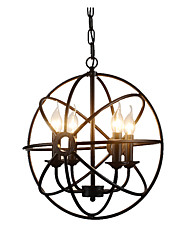 cheap -4-Light Spherical Pendant Light Industrial Chandeliers 4 Lights Island Cages Hanging Lamp Kitchen Hallway Overhead Lights Adjustable Black