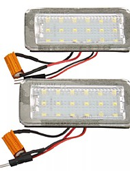 cheap -18 SMD LED License Plate Lights Super White Error Free Pair for Fiat 500 500C