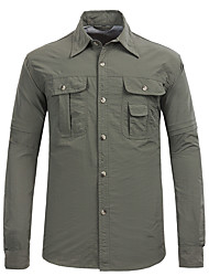 cheap -Esdy Men's Hiking Shirt / Button Down Shirts Long Sleeve Outdoor Breathable Quick Dry Sweat-Wicking Convert to Short Sleeves Shirt Autumn / Fall Spring Terylene Army Green Grey Khaki