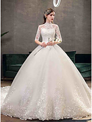 cheap -Ball Gown High Neck Chapel Train Tulle Half Sleeve Simple Illusion Sleeve Wedding Dresses with Appliques 2020