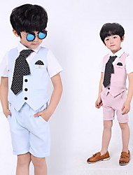 cheap -Sky Blue / Blushing Pink Cotton Ring Bearer Suit - Three-piece Suit Includes  Vest / Shirt / Pants