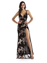 cheap -Diva Disco 1980s Dress Women's Sequins Costume Black / Golden Vintage Cosplay Prom Sleeveless Floor Length Sheath / Column
