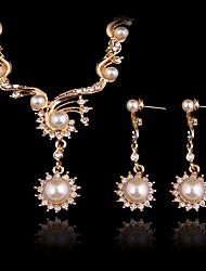 cheap -Women's Synthetic Aquamarine Bridal Jewelry Sets Classic Blessed Classic Earrings Jewelry Gold For Wedding Party 1 set