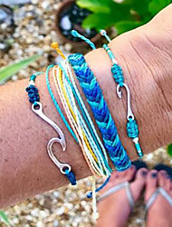 cheap -4pcs Women's Wrap Bracelet Vintage Bracelet Earrings / Bracelet Layered Wave Simple Classic Vintage Ethnic Fashion Cord Bracelet Jewelry Blue For Daily School Street Holiday Festival