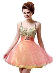 cheap -A-Line Spaghetti Strap Short / Mini Tulle Cute Cocktail Party Dress 2020 with Beading / Sequin