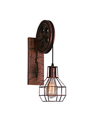 cheap -Rustic Wall Lamp Iron American Industrial Sconces Wire Cages Shade Cafe Bar Deco Light Wall Mount for Corridor Hallway