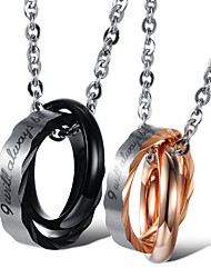 cheap -Women's Men's Pendant Necklace Classic Blessed Fashion Titanium Steel Rose Gold Black 50 cm Necklace Jewelry 1pc For Daily Promise