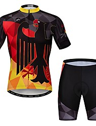 cheap -21Grams Novelty Germany Men's Short Sleeve Cycling Jersey with Shorts - Black / Red Bike Clothing Suit Breathable Quick Dry Sports Elastane Terylene Mountain Bike MTB Road Bike Cycling Clothing