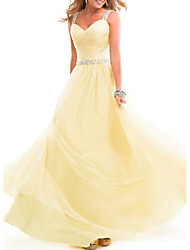 cheap -A-Line Spaghetti Strap Floor Length Chiffon Empire / Yellow Prom / Formal Evening Dress with Crystals 2020