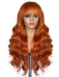cheap -Synthetic Lace Front Wig Wavy Neat Bang Lace Front Wig Long Orange Synthetic Hair 20-26 inch Women's Adjustable Heat Resistant Party Brown