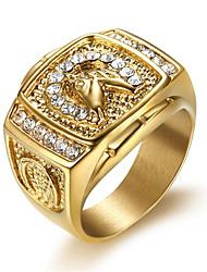 Недорогие -Муж. Кольцо Цирконий 1шт Золотой Титановая сталь Геометрической формы Стиль Повседневные Бижутерия Классический надежда Cool