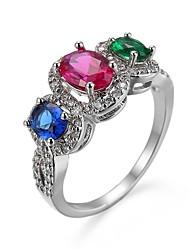 cheap -Women's Ring 1pc Rainbow Copper Imitation Diamond Geometric Artistic Luxury European Party Gift Jewelry Transparent