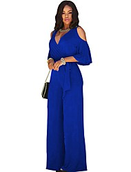 cheap -Women's Basic Deep V Wine Royal Blue Black Wide Leg Loose / Oversized Jumpsuit Onesie, Solid Colored Backless S M L