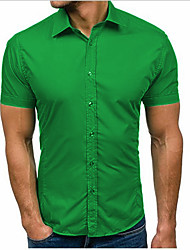 cheap -Men's Daily Basic Shirt - Solid Colored Black / Short Sleeve