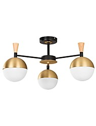 cheap -3-Light Modern Chandeliers with 3 Bulbs Ceiling Light Fixture with Glass Lamp Shades Chandeliers for Dining Rooms Ceiling Lamp Flush Mount Golden/White
