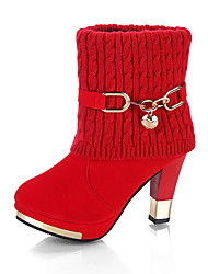cheap -Women's Boots Chunky Heel Round Toe Buckle Knit Booties / Ankle Boots Vintage Walking Shoes Winter Black / Red