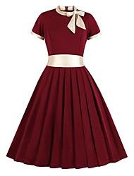 Недорогие -Жен. Классический С летящей юбкой Платье - Контрастных цветов До колена