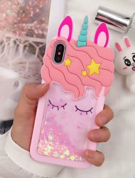 cheap -Case For Apple iPhone XS / iPhone XR / iPhone XS Max Shockproof / Dustproof / Flowing Liquid Back Cover Food / 3D Cartoon Soft Silica Gel