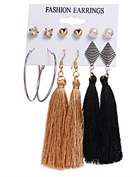 cheap -Women's Crystal Stud Earrings Drop Earrings Hoop Earrings Tassel Heart Love Vintage Bohemian Boho Elegant Silver Plated Gold Plated Earrings Jewelry Gold For Party Gift Daily Carnival Bar 6 Pairs