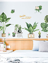 cheap -Green Plants / Floral / Botanical Wall Stickers Plane Wall Stickers Decorative Wall Stickers, PVC Home Decoration Wall Decal Wall Decoration 2pcs