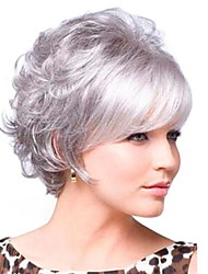 cheap -Synthetic Wig Curly With Bangs Wig Short Grey Synthetic Hair 30 inch Women's Women Dark Gray