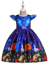 cheap -Kids Toddler Girls' Vintage Basic Galaxy Print Short Sleeve Above Knee Dress Blue