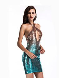 cheap -Diva Disco 1980s Dress Women's Sequins Costume Black / Blue Vintage Cosplay Prom Sleeveless Above Knee Sheath / Column