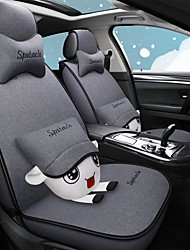 cheap -Lovely Cartoon Four Seasons Car Seat Cover with 2 pillows and 2 waist pads for 5 seat Car/Linen material/Airbag compatibility/Adjustable and Removable/Family car/SUV
