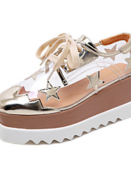 cheap -Women's Sneakers Wedge Heel Square Toe Sequin Faux Leather Casual Fall & Winter Gold / Silver