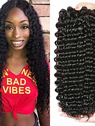 cheap -3 Bundles Brazilian Hair Deep Wave Virgin Human Hair Remy Human Hair Natural Color Hair Weaves / Hair Bulk Bundle Hair One Pack Solution 8-28 inch Natural Color Human Hair Weaves Waterfall Classic
