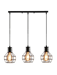 cheap -Linear Pendant Light Cluster Pendant Lights Ceiling Chandeliers Flush Mount Industrial Pendant Lighting 3 Lights Adjustable Hanging Light Fixtures with Wire Cages Dining Hall Overhead Lights