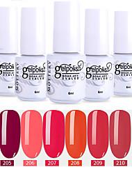 Недорогие -лак для ногтей 6 шт. цвет 205-210 xyp выдержка уф / светодиодный гель лак для ногтей сплошной цвет лак для ногтей наборы