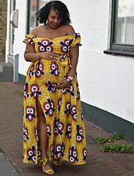cheap -Women's Swing Dress - Floral Yellow L XL XXL XXXL