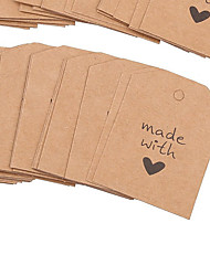 cheap -100Pcs Made with Love Printing Kraft Hanging Tags for DIY Decoration
