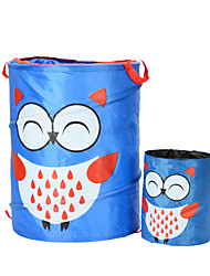 cheap -Household Pop-up Nylon Collapsible Laundry Hamper Come with A Samll Hamper , Owl Cartoon