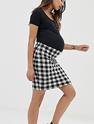 cheap -Women's Above Knee Maternity Wine White Dress A Line Plaid Patchwork S M / Chiffon