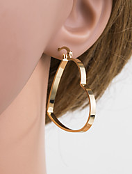cheap -Women's Silver Gold Hoop Earrings Geometrical Heart Stylish Luxury European Oversized Gold Plated Earrings Jewelry Gold / Silver For Daily 1 Pair