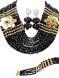 cheap -Women's Necklace Earrings Bracelet Beads Lucky Elegant Africa Earrings Jewelry White / Black For Wedding Party Gift Daily Festival 1 set