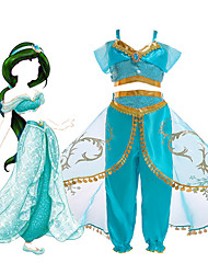 cheap -Princess Jasmine Dress Cosplay Costume Flower Girl Dress Girls' Movie Cosplay A-Line Slip Vacation Dress Halloween Green LightBlue Top Pants Christmas Halloween Carnival Tulle Polyster