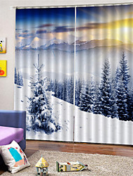 cheap -3D Digital Printing Nature Inspired Privacy Two Panels  Polyester  Curtain For Bathroom   Living Room Waterproof Dust-proof Decorative High-quality Curtains