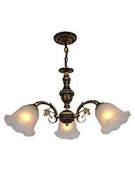 Недорогие -Стеклянные люстры американский деревенский подвесной светильник 3 лампы висят в помещении деко освещения для кабинета коридор подвесной цепи регулируемый