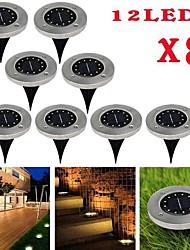 cheap -BRELONG 12LEDs Solar Underground Light Outdoor Waterproof Lawn Light 8 Pcs