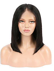 cheap -Remy Human Hair Lace Front Wig Short Bob Middle Part style Brazilian Hair Straight Black Wig 130% Density Women's Short Human Hair Lace Wig beikashang