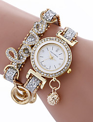 cheap -fashion women girls metal case leather rhinestone bracelet quartz elegant wrist watch