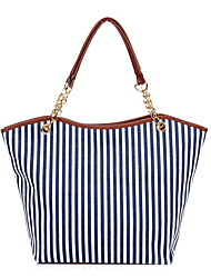 cheap -Women's Chain Canvas Tote Blue / Red