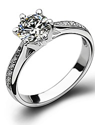 cheap -Women's Ring AAA Cubic Zirconia 1pc Silver Alloy Stylish Elegant Engagement Daily Jewelry