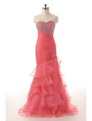 cheap -A-Line Sweetheart Neckline Sweep / Brush Train Organza Dress with Crystals / Cascading Ruffles / Ruched by JUDY&JULIA