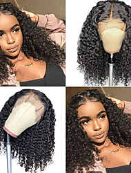 cheap -Human Hair Wig Medium Length Curly Wet Side Part Party Women Best Quality Lace Front Brazilian Hair Women's Black#1B 8 inch 10 inch 12 inch